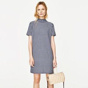 Zara | Blue & White Gingham Mini Dress